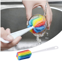 Rainbow Long Handle Easy Cup Brush Sponge Cleaner Cleaning Brush Bottle Glass Cup Scrubber Washing Cleaning Kitchen Tool