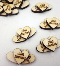50PCS/lot letter Just Married printed love Heart Shaped Wooden Charms buckle wooden props ornaments wedding decoration for gift