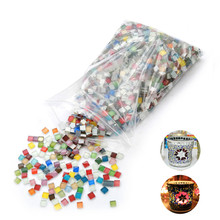 200 pcs 10 X 10mm Stained Glass Strip, DIY Glass Mosaic Hobbies, DIY Material Supplier, Mini Loose Glass Pieces(China)