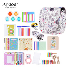 Andoer 14 in 1 Accessories Kit for Fujifilm Instax Mini 8/8+/8s/9 w/ Camera Case/Strap/Sticker/Selfie Lens/5*Colored Filter etc(China)