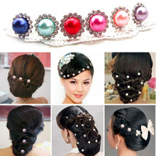 High Quality 2 pcs Simulated-Pearl Crystal Flowers Hair Clip Hairpin Jewelry Acessories