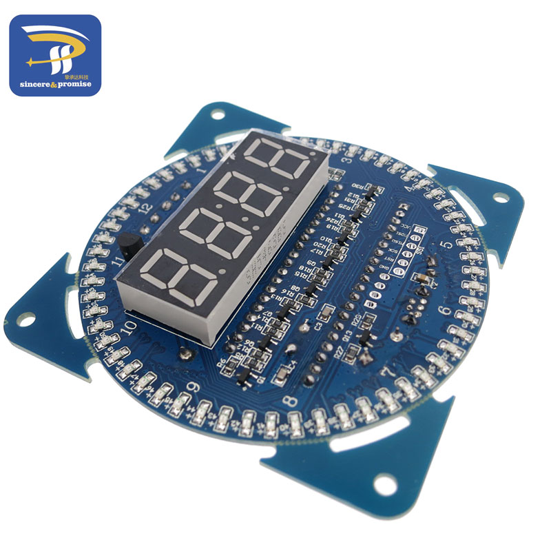 2016 New Version LED Electronic Digital Clock module DS1302 Rotation 51 SCM Learning Board