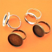 10pcs Various Round Size Copper Adjustable Y-Type High Quality Ring Popular Settings DIY Base/Blank Bezels(China)