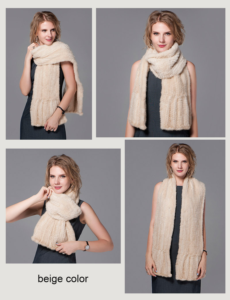 color beige mink fur scarf