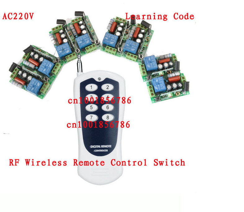 New 220V 1CH Radio remote control switch light lamp LED ON OFF 6Receiver&amp;1transmitter Learning Code<br>