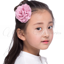 Retail 8.5cm Newborn Chiffon Petals Poppy Flower Hair Clips Rolled Rose Fabric Hair Flowers For Kids Girls Hair Accessories(China)