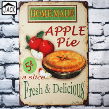 Fresh & Delicious Home Made Apple Pie Advertising Vintage 20*30CM Metal Tin Sign Supermarket Restaurant Kitchen Wall Plate Decor(China)