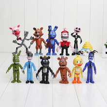 12Pcs/Set FNAF Bonnie Foxy Chica Freddy Fazbear PVC Action Figures Five Nights At Freddy's Toys Doll Sister Location