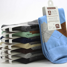 New Brand 8 Colors Socks Men Rhombus Print Super Quality Business Casual Male Winter Thermal Warm Breathable Deodorant Sock M459(China)