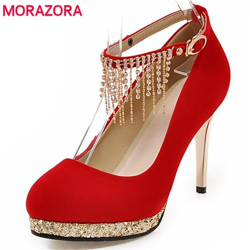 MORAZORA Lady platform shoes flock solid shallow women pumps four seasons single shoes party mature large size 34-42<br>