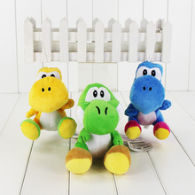 1pcs 18cm 3Colors Super Mario Bros Green Yellow Blue Yoshi Plush keychain pendant Doll Toy free shipping