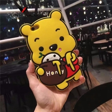 Fashion 3D Cute Sweet Winnie pooh bear Soft Silicone Cell Phone Case Coque Back Cover for Apple iphone 5 5s SE 6 6s 6plus 7 plus