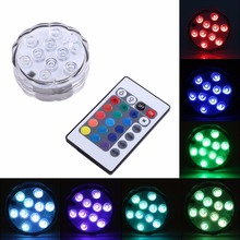 Fashion 10 LED Colorful RGB Remote Controll Waterproof Aquarium Lights Plastic Decor Lamp for Party Decorations Event Supplies