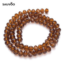 SAUVOO 2 Strand/lot 4mm 6mm 8mm Dark Brown Bracelet Necklace Round Flat Bulk Glass Beads for DIY Beaded Jewelry Findings F2297(China)