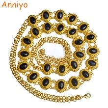 Anniyo Length 110cm / Fashion Stone Belt for Women Arab  Belly Jewelry Gold Color Waist Chain Wedding Gift #071706