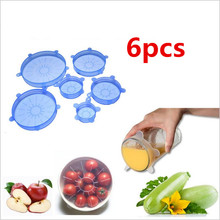 6Pcs Universal Lid Silicone Food Dustproof Fresh Bowl Pot Stretch Lids Cover Pan Bowl Cover Kitchen Vacuum Lid Sealer 99