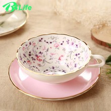 European style bone china coffee mug cup set fruit pattern of high-grade ceramic cup latte lovers with saucers