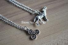 20pcs teen wolf inspired necklace wolf Derek Pack necklace jewelry silver antique jewelry(China)