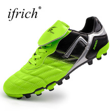Ifrich New Football Soccer Shoes for Men Kids Long Spikes Soccer Cleats Original Outdoor Soccer Sneakers Green Blue Trainers(China)