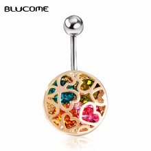 Joias Ouro Gold-color Love Heart Crystal Body Jewelry Piercings Navel Belly Button Rings Bikini Women Girls Beach Accessories(China)