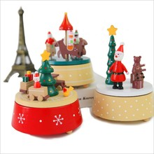 Dream Carousel Musical Boxes Retro Xmas Tree Dream Snowman Santa Claus Christmas Table Decorations Christmas Eve Song Xmas Gift(China)