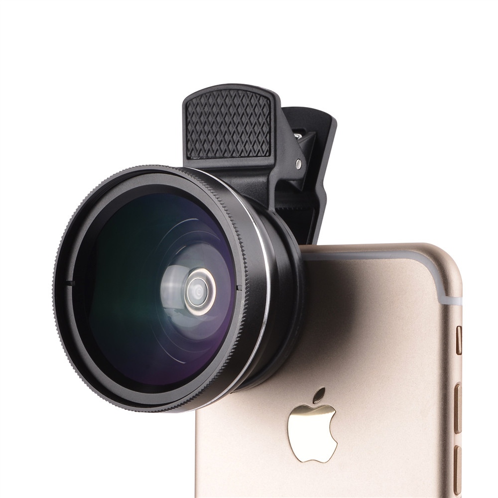 37mm 0.45X Super Wide Angle Lens 12.5X Macro Lens Clip For iPhone Xiaomi Samsung Cell Phone Lens 2 in 1 Camera Lens Kit 6