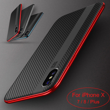 Roybens iPhone X 7 8 Case Soft Silicone TPU + PC New Hybrid Case iPhone 7 8 Plus Ultra Slim Carbon Fiber Armor Cover