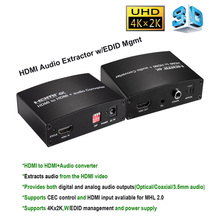 New 4Kx2K HDMI  to HDMI  and Audio Converter  with Optical Coaxial 3.5MM Connecter Converter Adapter with Dip EDID Management