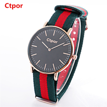Fashion Casual Watches Nylon Strap Shopping Tour Men Clock 40mm Dial Ctpor Brand With Watch Box Gift gg Military Army green
