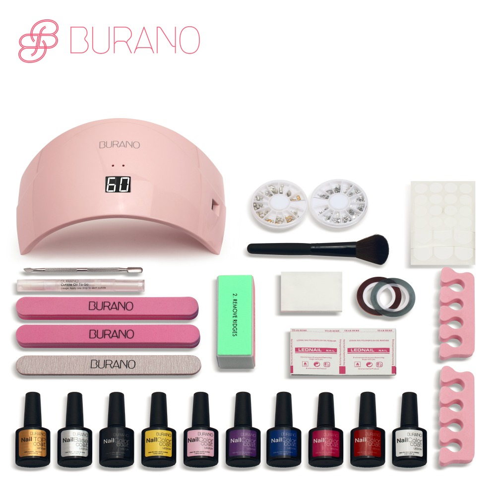 Burano 24w led lamp & choose 8 colors soak off uv gel set polish base gel top gel nail polish kit Manicure Set & Kit nail tools(China (Mainland))
