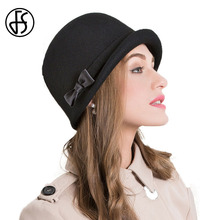 FS Elegant Autumn Winter 100% Wool Fedoras Hat Black Pink Bow Curl Birm Protect Ear Warm Bowler Floppy Ladies Churh Cloche Hats(China)