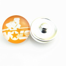 NCAA Tennessee Volunteers Team Logo Glass Snap Button Charm Fit 18mm Snap Bracelets for DIY Sports Fans(China)