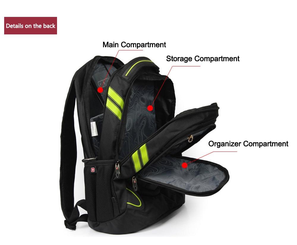 Swiss Brand Waterproof 15,6″ Men's Laptop Backpack High Quality Music Backpack for Teenage Boys mochila escolar Bagpack SW6010V