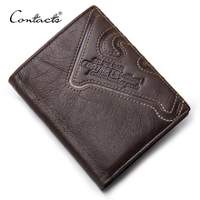Buy CONTACT'S Genuine Leather Wallet Men Coin Purse Male Cuzdan Small Walet Portomonee PORTFOLIO Slim Mini Purse Vallet Money Bag for $12.41 in AliExpress store
