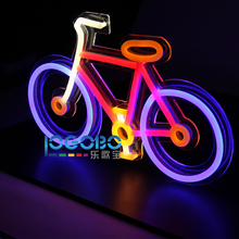 Led Neon Sign Bike Handcrafted Neon Tube Beer Bar Pub Neon Light Sign Signboard for Bar Christmas Decorations for Home Windows(China)