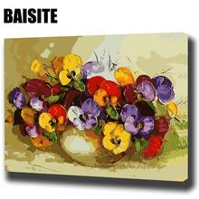 Buy BAISITE DIY Framed Oil Painting Numbers Flowers Pictures Canvas Painting Living Room Wall Art Home Decor E646 for $6.33 in AliExpress store