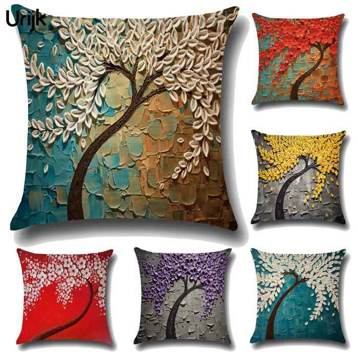 Urijk 1PC 3D Painting Tree Flower Cushion Cover 3D Soft Cotton Linen Cushion Cover Throw Pillowcase For Bedroom Car Pillow Cover