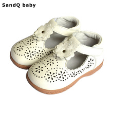 2017 New Summer Style Children Sandals for Girls Hollow Out Genuine Leather Princess Shoes Kids Beach Sandals Baby Toddler Shoes(China)