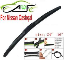 "Free shipping universal car blades for Nissan Qashqai Soft silicone Rubber WindShield Wiper Blade 1PAIR,size 24"" and 16"""