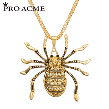 Pro Acme High Quality Alloy Spider Necklaces & Pendants for Women Crystal Long Sweater Chain Necklace Fashion Jewelry PN0631(China)
