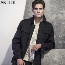 AK CLUB Brand 80% Wool Jacket Men Runway Letters Home Series Turn-down Collar Pockets Short Woolen Coat Men Jacket New 1704133(China)