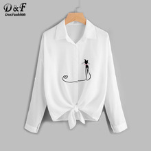 Dotfashion Drop Shoulder Cat Embroidered Knotted Hem Shirt 2017 White Lapel Equipment Tops Button Long Sleeve Summer Blouse(China)
