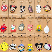 1PCS 2017 New Cartoon Anime PVC Keychain Minions Baymax Hello Kitty Doraemon Pendant Keyrings Creative Gifts