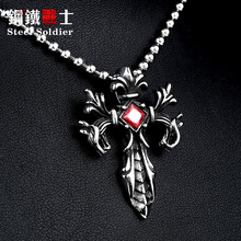 Steel soldier Wholesale Jewelry Charm Necklace Pendants Red & Black CZ Cross Jewelry woman and Man stone Sword