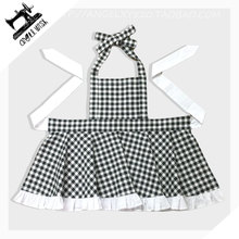 Plaid Kids Cotton Apron Japanese Style Kitchen Baking Painting Cooking Avental de Cozinha Divertido Pinafore Apron(China)