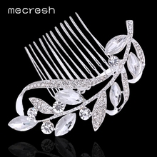 Mecresh Crystal Leaf Wedding Hair Accessories Bridal Hair Combs Rhinestone Silver Color Wedding Hair Jewelry Hairpin MFS104