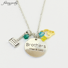 Fantasy Action Movie Thor & Brothers Letter Necklace Thor Loki Yellow Helmet Blue Crystal Bead Pendant Necklace for fans gift