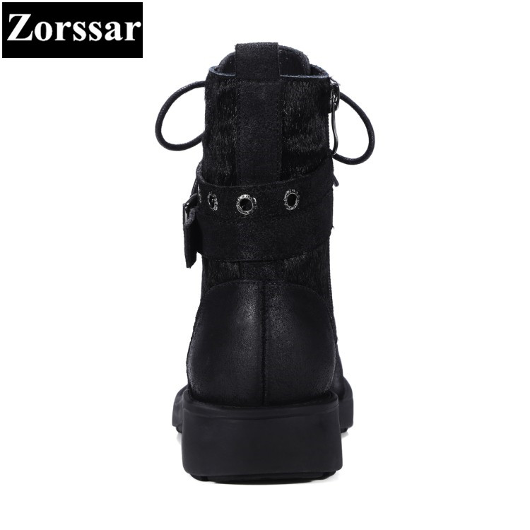 {Zorssar} 2018 Autumn winter women ankle boots Low heel Ladies Shoes Fashion Suede lace up Casual Vintage Womens Martin boots