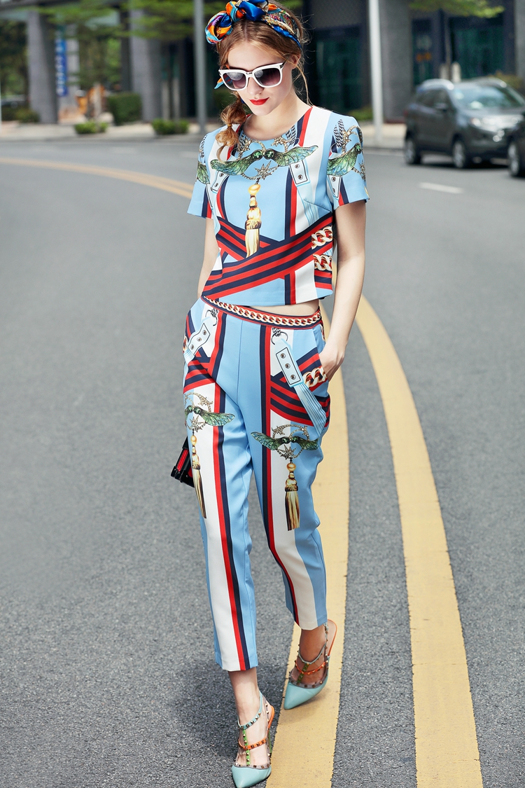 High Quality 17 European Designer Runway Suit Set Women's Two Piece Printing Short Tops + Mid-Calf Pants Set Free DHL Aramex 7