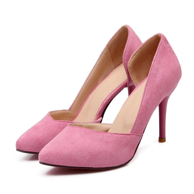 Autumn Shoes Women Pumps 2016 Sexy Woman Thin High-Heeled Purple/Pink ShoesTwo-Piece Stiletto For Women High Heels Dress Pumps <br><br>Aliexpress